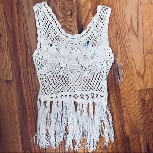 Knitted-Fringed Beach Cover-Up
